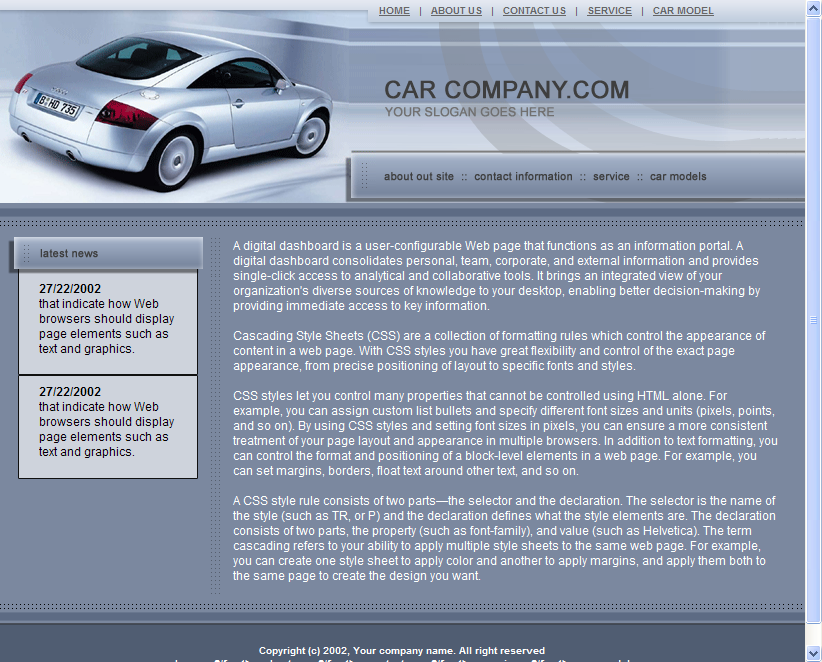 Car Dealer HTML Template Download