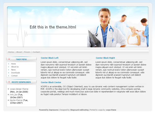 Medical Theme Web Site Template XOOPS Download