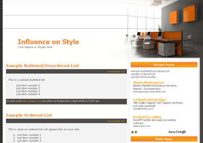 Clean Orange Wordpress Theme Download