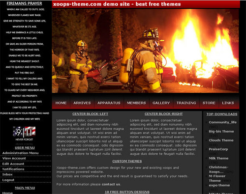 Firefighters Web Theme for XOOPS Download